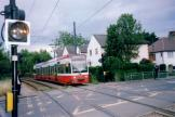 London low-floor articulated tram 2514 on tram line 3 near Dundonald Road, Wimbledon (2006).