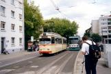 Ludwigshafen articulated tram 126 on tram line 10 at the stop Pfalzbau (2003).