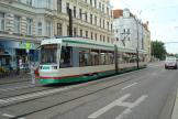Magdeburg low-floor articulated tram 1315 on tram line 1 at the stop Arndtstraße (2014).