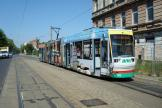 Magdeburg low-floor articulated tram 1319 on tram line 1 at the terminus Sudenburg, Kroatenweg (2008).