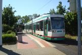 Magdeburg low-floor articulated tram 1325 on tram line 2 at the terminus Westerhüsen (2015).