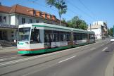 Magdeburg low-floor articulated tram 1346 on tram line 2 at the stop Budenbergstraße (2015).