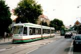 Magdeburg low-floor articulated tram 1371 on tram line 1 at the stop Ambrosiusplatz (2003).