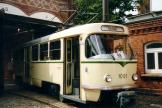 Magdeburg railcar 1001 on the entrance square Museumsdepot Sudenburg (2003).