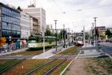Mannheim articulated tram 521 on tram line 6 at the stop Kunsthalle (2003).