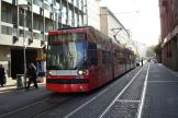 Mannheim low-floor articulated tram 634 on tram line 7 at the stop Ludwigstraße (2009).