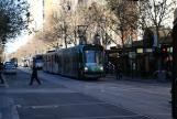 Melbourne low-floor articulated tram 3513 on tram line 72 at the stop Bourke St/Swanston St (2010)