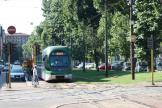 Milan low-floor articulated tram 7502 on tram line 7 on Corso Sempione (2009)