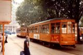 Milan railcar 1566 on tram line 1 at the stop Centrale FS (1981)
