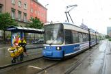 Munich low-floor articulated tram 2130 on tram line 17 at the stop Hauptbahnhof Nord (2010)