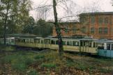 Neuchâtel railcar 46 outside the museum Deutsches Straßenbahn Museum (Hannoversches Straßenbahn-Museum) (1986).