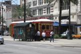 New Orleans railcar 2003 on tram line 47 Canal Streetcar at the stop Canal at Baronne (2010)