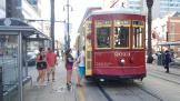 New Orleans railcar 2013 on tram line 47 Canal Streetcar at the stop Canal + Decatur (2018)