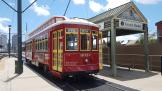 New Orleans railcar 2014 on tram line 2 Riverfront at the stop French Market Station (2018)