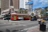 New Orleans railcar 2017 on tram line 47 Canal Streetcar in the intersection Canal street/Dauphine street (2010)