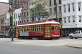 New Orleans railcar 2021 on tram line 47 Canal Streetcar on Canal street (2010)