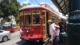 New Orleans railcar 2022 on tram line 49 Loyola/UPT at the stop N. Rampart + St. Ann (2018)