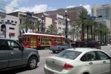 New Orleans railcar 2023 on tram line 47 Canal Streetcar in the intersection Canal street/Boronne street (2010)