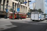 New Orleans railcar 2023 on tram line 47 Canal Streetcar in the intersection Canal street/Camp street (2010)
