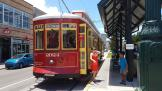 New Orleans railcar 2024 on tram line 49 Loyola/UPT at the stop St. Ann St. (2018)