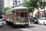 New Orleans railcar 932 on tram line 12 St. Charles Streetcar on St. Charles Avenue, front view (2010)