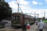 New Orleans railcar 948 on tram line 12 St. Charles Streetcar at the terminus S. Claiborne Avenue (2010)