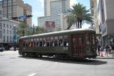 New Orleans railcar 948 on tram line 12 St. Charles Streetcar in the intersection Carondelet street/Canal street (2010)