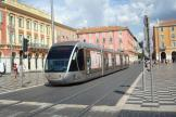 Nice low-floor articulated tram 007 on tram line 1 in the square Place Masséna (2016)