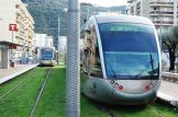 Nice low-floor articulated tram 014 on tram line 1 at the terminus Hopital Pasteuer (2014)