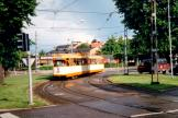 Norrköping tram line 3 in the intersection Norra Promenaden/Drotninggaten (1995)