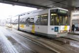 Ostend articulated tram 6131 at the stop Oostende Station (2011)