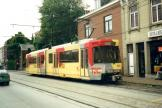 Ostend articulated tram 7425 on Charleroi tram line 88 at the terminus Anderlues Monument (2002)