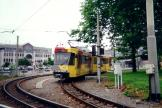 Ostend articulated tram 7450 on Charleroi tram line M4 at the terminus Sud (2000)