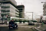 Paris low-floor articulated tram 302 on tram line T3a at the terminus Pont Garigliano - Hopital Europeen George Pompidou (2007)