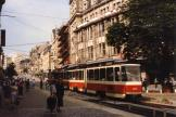Plauen articulated tram 232 on tram line 4 in the square Otto-Grotewohl Platz (Tunnel) (1990)