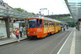 Plauen articulated tram 235 on extra line 6 at the stop Tunnel (2008)