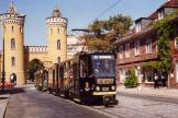 Potsdam articulated tram 030 at the stop Nauener Tor (1990).