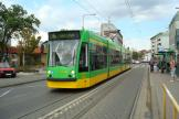 Poznań low-floor articulated tram 506 on tram line 14 at the stop Sielska (2008)