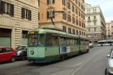 Rome articulated tram 7077 on tram line 5 at the terminus Farini (2016)