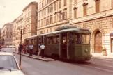 Rome articulated tram 7079 on tram line 5 at the terminus Farini (1981).