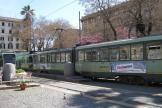 Rome articulated tram 7081 on tram line 19 at the terminus Piazza Risorgimento (2010).