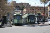 Rome articulated tram 7081 on tram line 19 at the terminus Piazza Risorgimento, front view (2010)