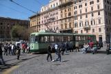 Rome articulated tram 7109 on tram line 19 at the terminus Piazza Risorgimento (2010).