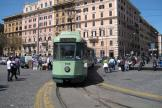 Rome articulated tram 7109 on tram line 19 at the terminus Piazza Risorgimento, front view (2010).