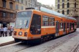 Rome low-floor articulated tram 9006 on tram line 8 the old terminus Torre Argentina (1999).