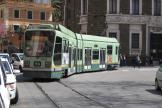 Rome low-floor articulated tram 9015 on extra line 2/ at the terminus Piazza Risorgimento, front view (2010)