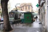 Rome low-floor articulated tram 9018 on tram line 19 on Via Gioachino Rossini (2010).