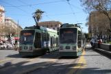 Rome low-floor articulated tram 9020 on extra line 2/ at the terminus Piazza Risorgimento (2010)