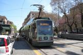 Rome low-floor articulated tram 9020 on extra line 2/ at the terminus Piazza Risorgimento, front view (2010)