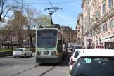 Rome low-floor articulated tram 9025 on extra line 2/ at the terminus Piazza Risorgimento, seen from behind (2010)